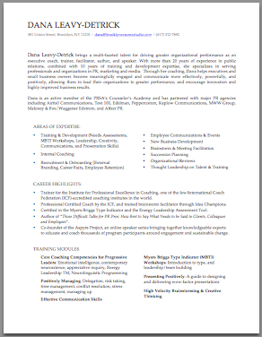 Brooklyn Resume Studio - Career Consulting, Resume Writing & Job Search Strategy Tools - Professional Bio Samples