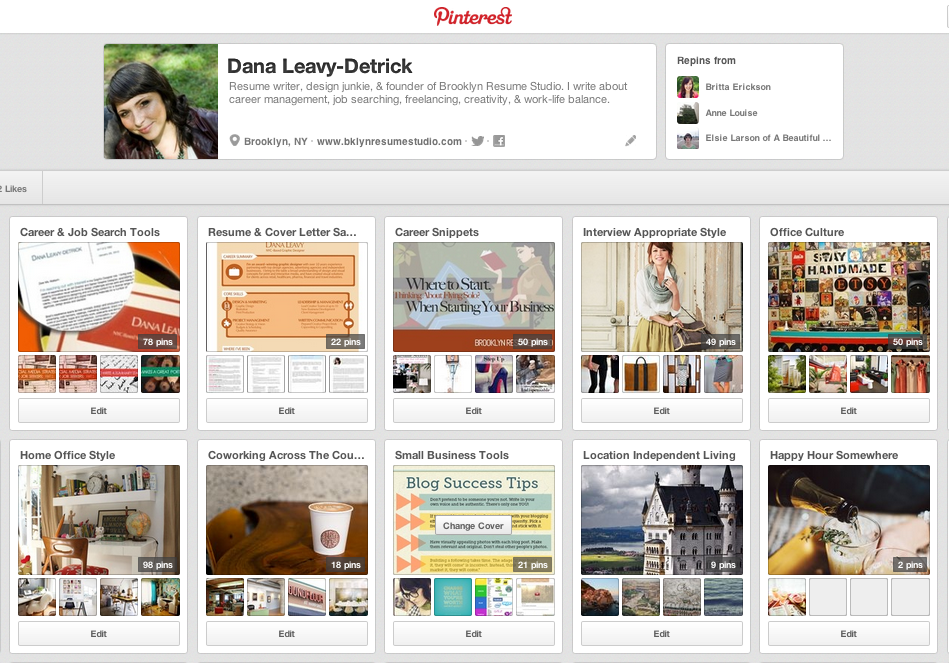 Personal Social Media Portfolio - Pinterest Profile Content - Brooklyn Resume Studio - Career Coaching, Resume Writing, LinkedIn Profile Development, Social Media and Job Search Strategy Tools