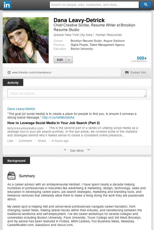 Personal Social Media Portfolio - LinkedIn Profile Content - Brooklyn Resume Studio - Career Coaching, Resume Writing, LinkedIn Profile Development, Social Media and Job Search Strategy Tools