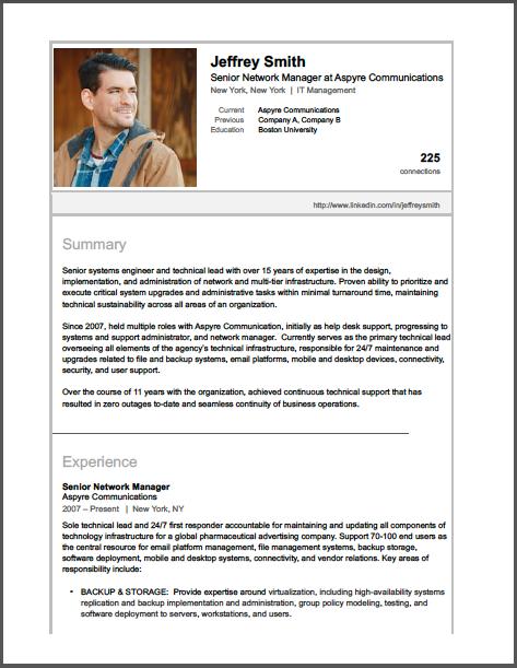 Brooklyn Resume Studio - Career Consulting, Resume Writing & Job Search Strategy Tools - LinkedIn Profile Samples