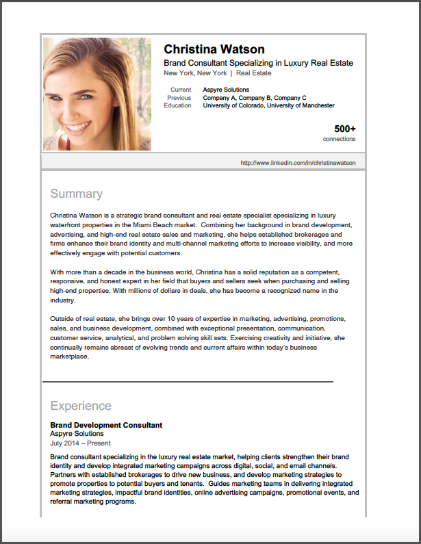 Brooklyn Resume Studio - Career Consulting, Resume Writing & Job Search Strategy Tools - LinkedIn Profile Samples
