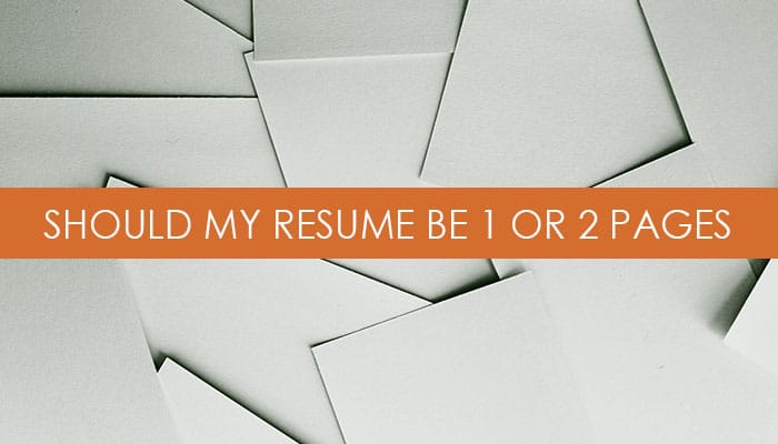 1 or 2 page resume