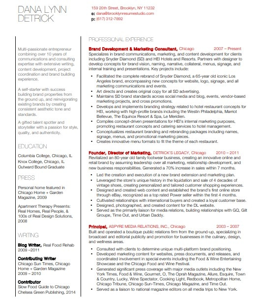 Resume Examples and Samples | Brooklyn Resume Studio