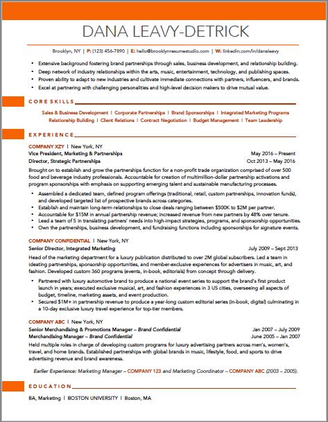 Brooklyn Resume Studio - Marketing and Business Development Resume - New York Resume Writer - Resume Samples