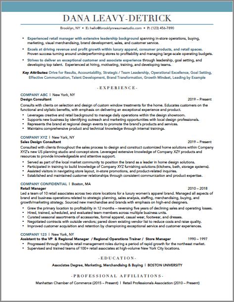 Brooklyn Resume Studio - Retail Resume - New York Resume Writer - Resume Samples